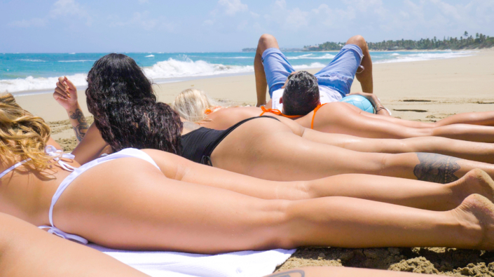 getting a tan together at Blue Paradise DR